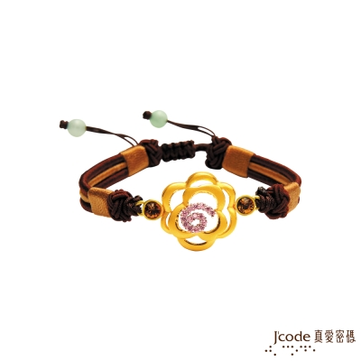 J'code真愛密碼 晶彩薔薇黃金/純銀中國結手鍊