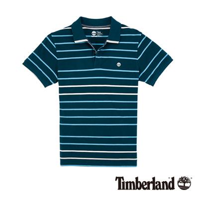 Timberland-男款藍綠色細條紋短袖POLO