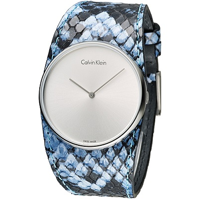 CK  唯我獨秀潮流皮帶錶-藍(K5V231V6)/37mm