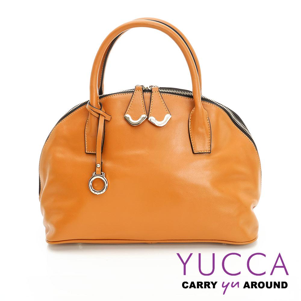 YUCCA摩登牛皮貝殼手提側肩背包-駝色-D0090004C60