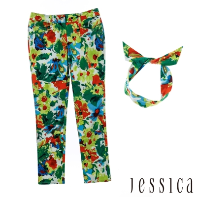JESSICA-RED-夏日派對渲染花彩修身長褲