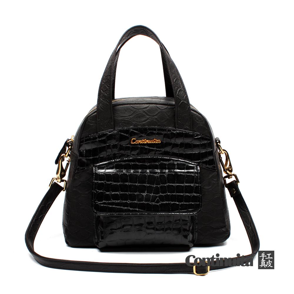 【Continuita 真皮屋】台灣手工真皮包 MIT 黛安娜復古手提包-黑色