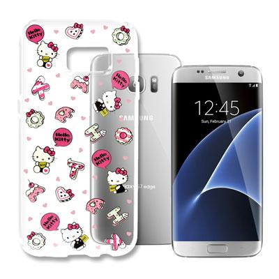 Hello Kitty 三星 Galaxy S7 Edge 浮雕彩繪透明軟殼(繽...