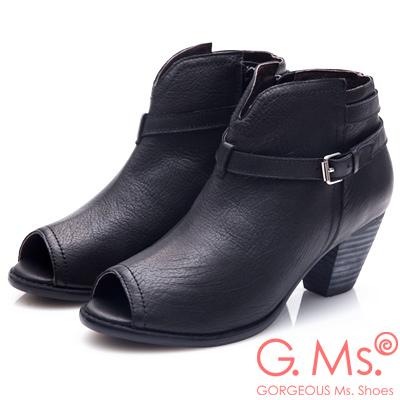 G.Ms. 牛皮魚口皮帶繞踝造型拉鍊粗跟踝靴-黑色