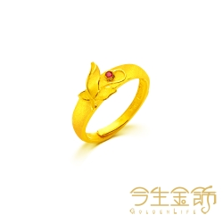 今生金飾 蝶情蜜意尾戒 時尚黃金戒指