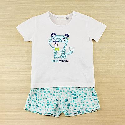 愛的世界 純棉圓領小花豹短袖套裝/6M~3歲