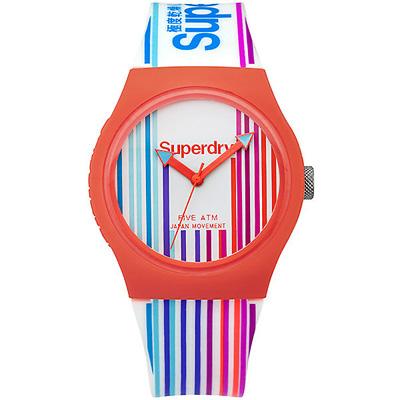Superdry 極度乾燥繽紛玩色時尚手錶-彩條紋X橘框/37mm