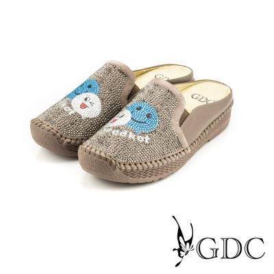 GDC-俏皮笑臉水鑽拼貼楔型厚底真皮休閒涼拖鞋-灰藍色