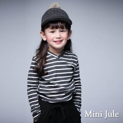 Mini Jule 童裝-上衣 V領繞頸條紋棉質長袖T恤(灰)