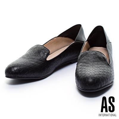 休閒鞋 AS 三角壓紋羊皮兩穿樂福內增高休閒鞋-黑