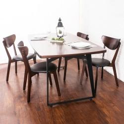 Bernice-諾曼工業風實木餐桌椅組(一桌四椅)-180x90x75cm