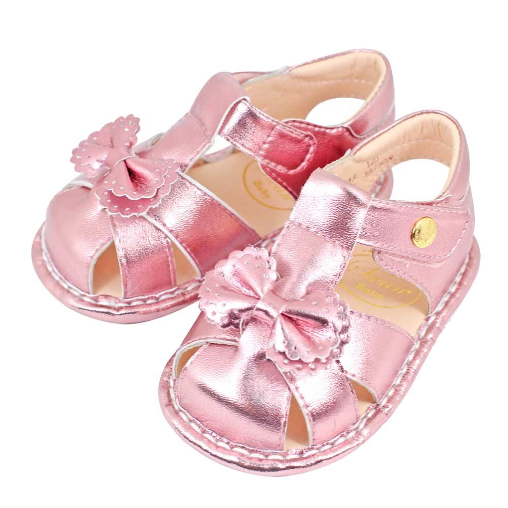 Swan天鵝童鞋-炫彩金屬色蝴蝶結寶寶涼鞋1513-粉