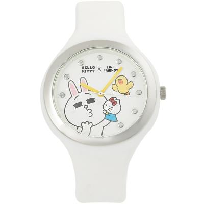 HELLO KITTY 凱蒂貓 x LINE 限量聯名超萌兔兔手錶-白/40mm