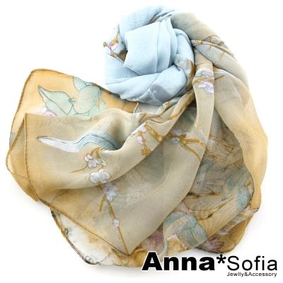 AnnaSofia-鳥語香榭-雪紡長絲巾-水藍系