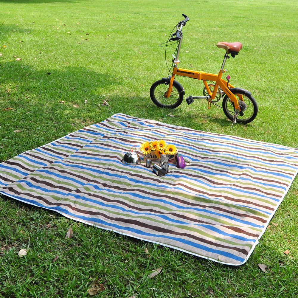 迪伯特DIBOTE防水加厚刷毛野餐露營墊防水地墊布200 x 200cm-條紋