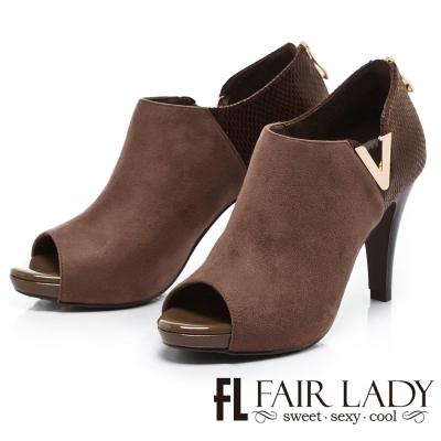Fair Lady 俐落麂皮側V高跟踝靴 芋