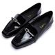 DIANA-簡約俐落-小方釦質感亮面方頭樂福鞋-黑