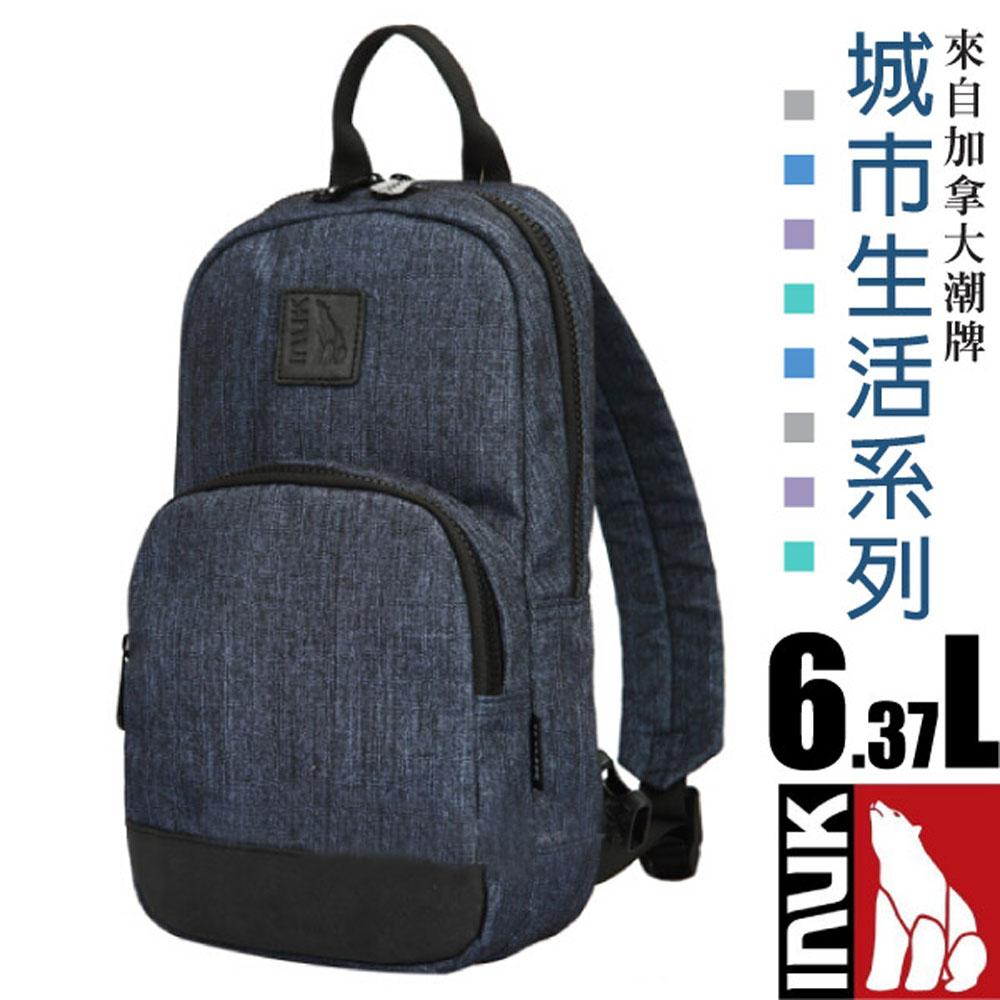 【加拿大 INUK】城市生活 熱賣款 超輕多口袋單肩側背包6.3L_海神藍