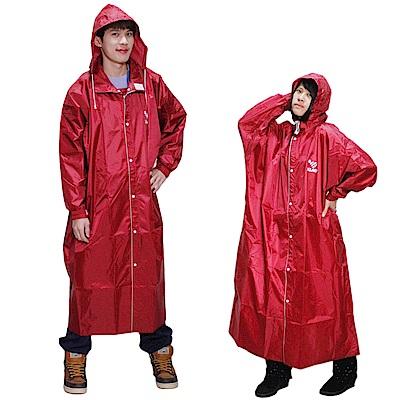 JUMP新二代前開素色雨衣-紅色