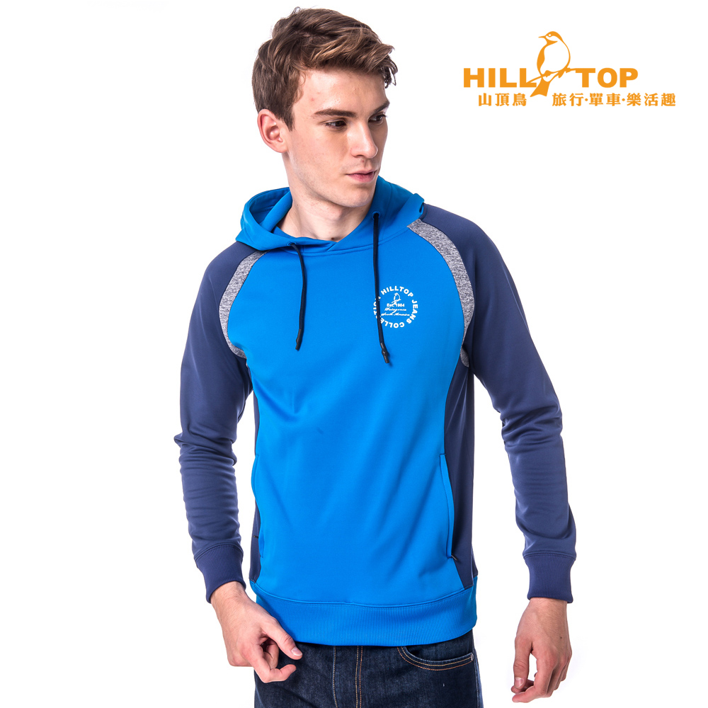 【hilltop山頂鳥】男款吸濕保暖刷毛上衣H51MG7藍/藍