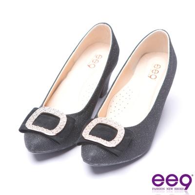 ee9 芯滿益足典雅簡約鑲嵌亮鑽粗跟鞋 黑色