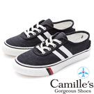 Camille's 韓國空運-正韓製-車線帆布撞色雙條綁帶休閒鞋-黑色