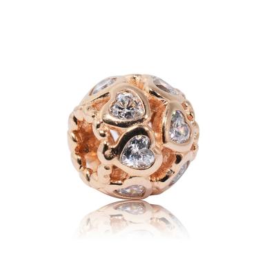 Pandora 潘朵拉 魅力鑲鋯玫瑰金愛心造型 純銀墜飾 串珠