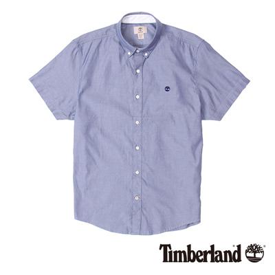 Timberland-男款湛藍色素面刺繡牛津短袖襯衫