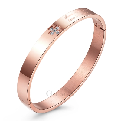 GIUMKA手環手鏈 忠貞戀人精鋼手環(玫金寬版)