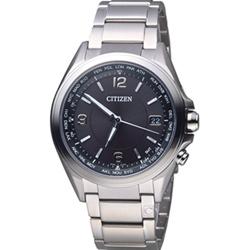 CITIZEN 五局電波接收萬年曆時尚鈦金屬錶(CB1070-56F)-黑/42mm