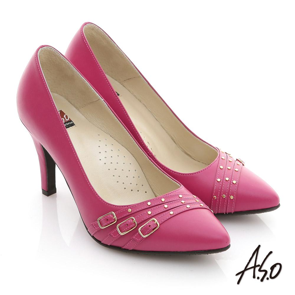 A.S.O 減壓美型 全真皮多條帶金屬高跟鞋 桃粉紅