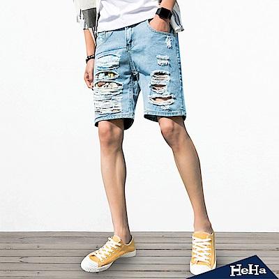 男士刮破卡通圖騰五分牛仔短褲 淺藍色-HeHa