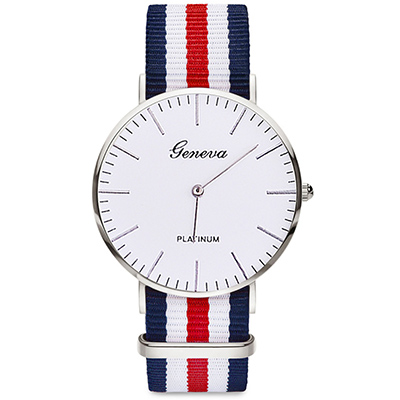 Watch-123 瑞典學院風薄型時尚帆布腕錶 (6色任選)
