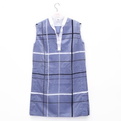 Hermes Blue Smalt Dress 水藍色開襟格紋無袖連身棉質洋裝(含白襯裙)