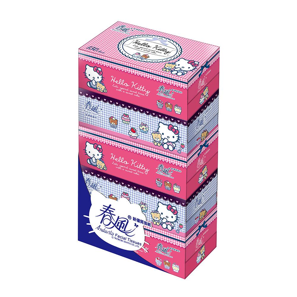 春風盒裝面紙 150抽x5包x10串/箱-Hello Kitty點心風
