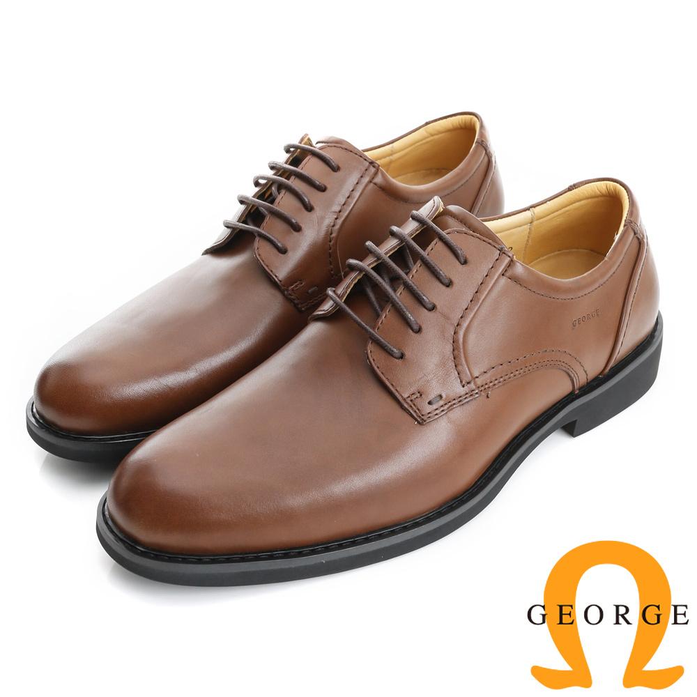 GEORGE 喬治-避震系列 經典舒適圓楦紳士皮鞋(男)-棕色