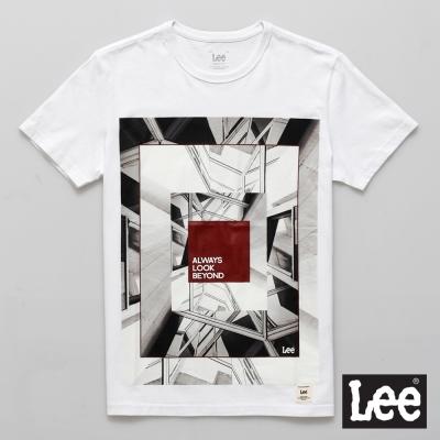 Lee-短袖T恤-漸層圖案印刷-男款-白色