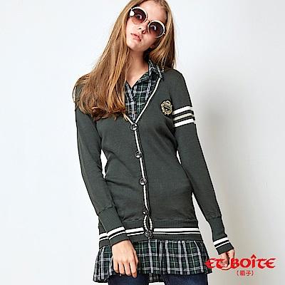 ETBOITE 箱子 BLUE WAY 學院風格子拼接洋裝外套-綠