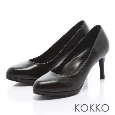 KOKKO - 復刻主義素面真皮手工高跟鞋-黑