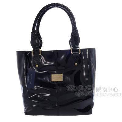【Tommy Hilfiger】美式風格漆皮側肩包(黑)