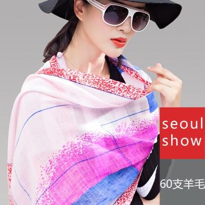 Seoul Show 普普條格純羊毛圍巾披肩2色  粉彩色