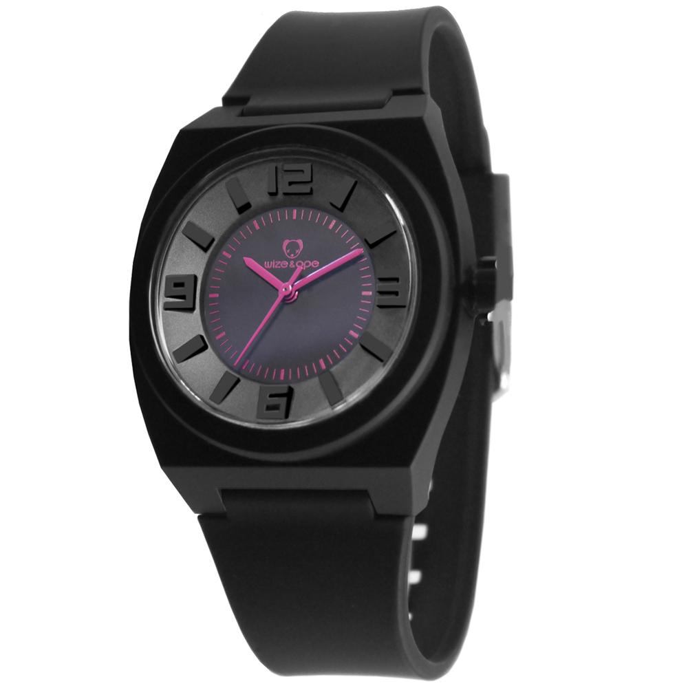 Wize&Ope June系列旋風黑潮休閒腕錶-黑x紫色指針/40mm