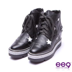ee9 青春熱力鐳射鏤空綁帶厚底內增高休閒鞋 黑色