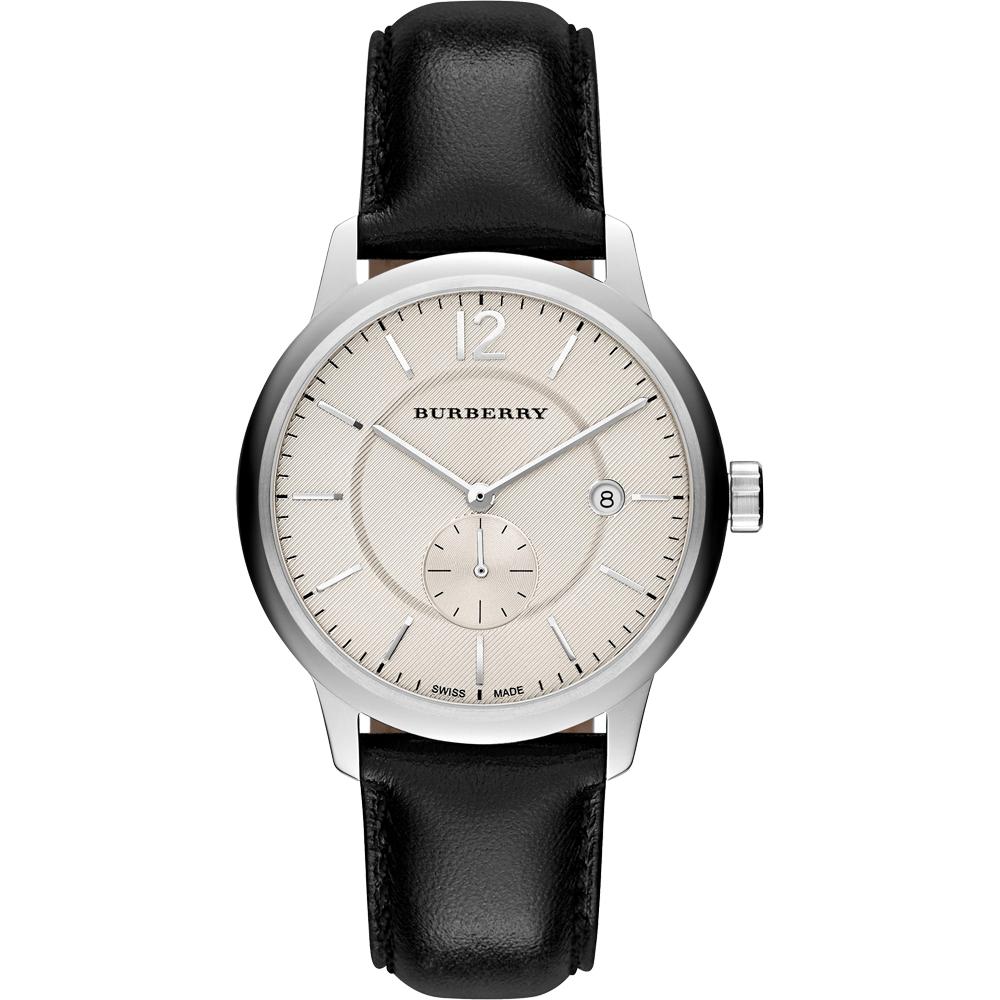 BURBERRY The Classic Round英倫小秒針腕錶-銀x黑40mm