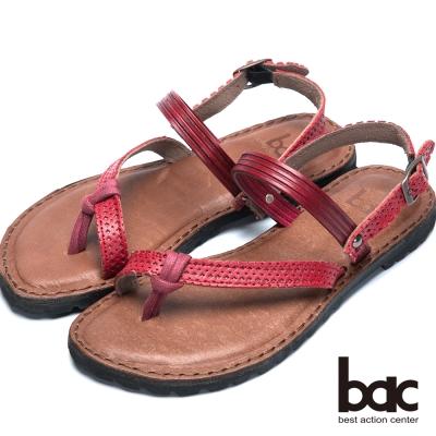 bac台灣製造 撞色混搭平底涼鞋-紅色