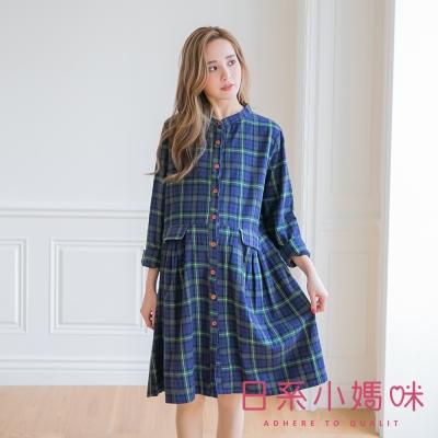 日系小媽咪孕婦裝-經典配色格紋掀蓋口袋排釦洋裝
