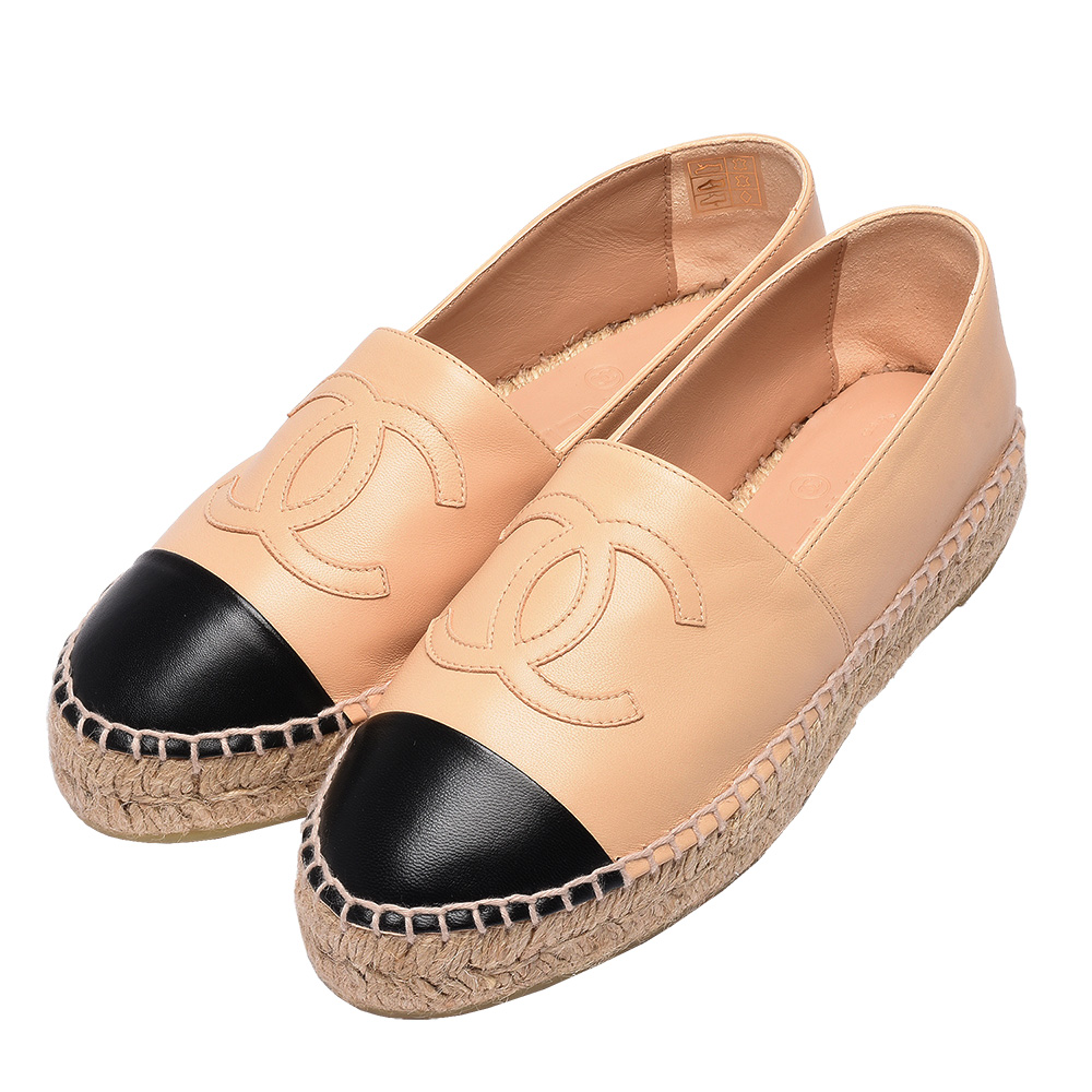 CHANEL 經典Espadrilles小香LOGO小羊皮厚底鉛筆鞋(駝X黑)