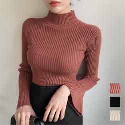 條紋半高領小喇叭袖針織上衣