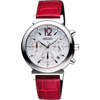 SEIKO LUKIA 太陽能甜美三眼計時碼腕錶(SSC885J1)-銀x紅色錶帶/35mm