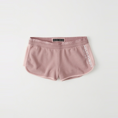 A&F 經典文字設計短棉褲(女)-粉色 AF Abercrombie
